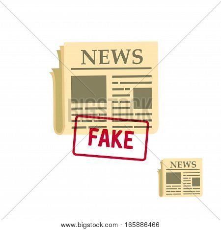 flat newspaper icon with fake stamp, vector illustration