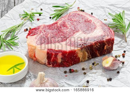 Raw Beef Rib Eye Fresh Meat Steak On White Paper