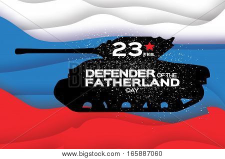 Military Tank. Happy Defender of the Fatherland day. 23 February Greeting card for men on russian flag background with space for text. The Day of Russian Army. Russian national holiday.
