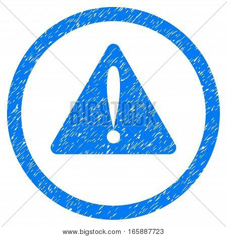 Rounded Warning Error rubber seal stamp watermark. Icon symbol inside circle with grunge design and dirty texture. Unclean vector blue emblem.