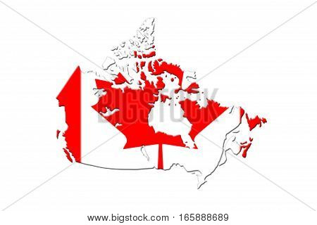 Canadian Map With Flag On It 3D Rendering