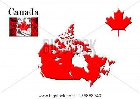 Canadian Map With Flag And Maple Leaf 3D Rendering