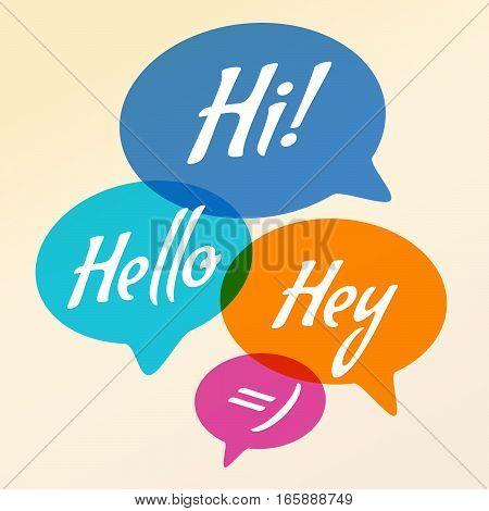 Vector illustration - Hand drawn speech bubble. Set with text -hi, hello, hey. Speech bubble colorful set.