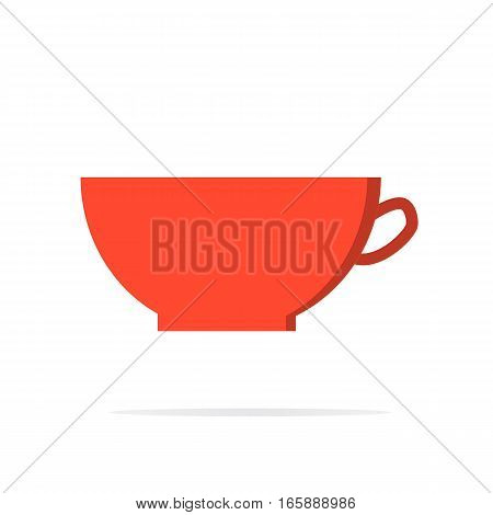 cup icon modern flat design on white background. Red coffee cup sign.