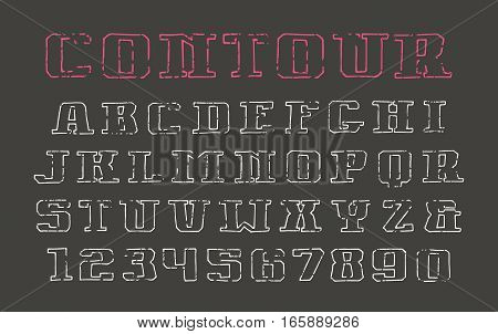 Contour serif font and numerals in the style of hand-drawn graphics. Print on black background