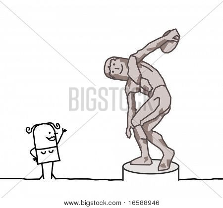 hand drawn cartoon characters - The discus thrower parody