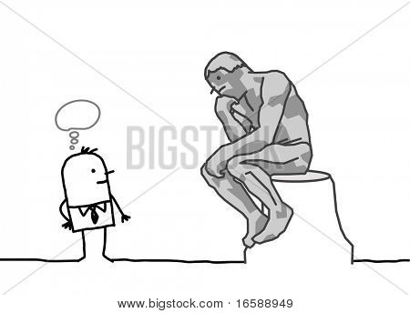 hand drawn cartoon characters - The Rodin's thinker parody