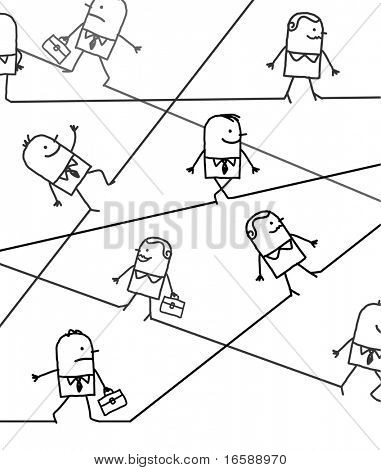 hand drawn cartoon character - business people in all directions