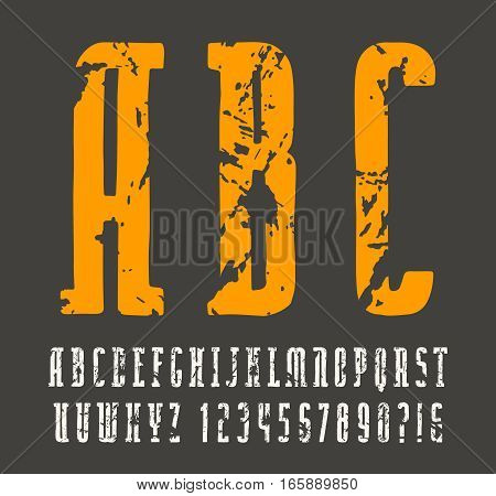 Narrow slab serif font in the style of handmade graphics. Print on black background