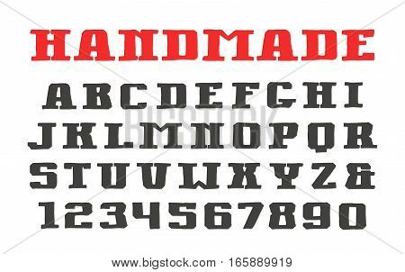 Serif font and numerals in the style of hand-drawn graphics. Isolated on white background
