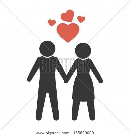 couple just married with heart vector illustration design