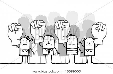 hand drawn cartoon characters - people protesting