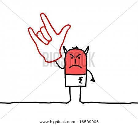 hand drawn cartoon characters - Devil hand sign