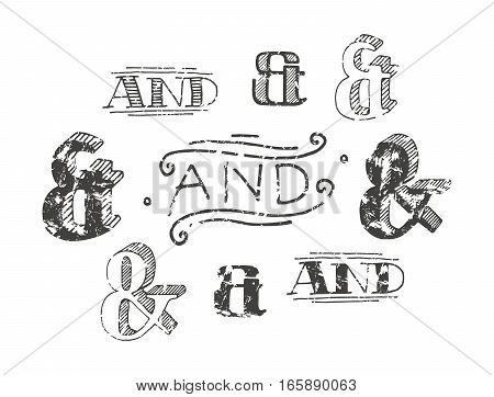 Set of decoration ampersands for letters and invitation. Handwritten type with shabby texture. Isolated on white background poster