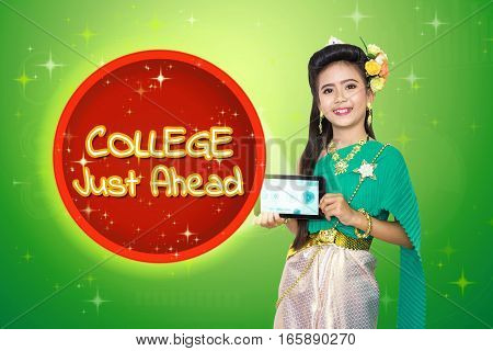 Traditional Thai Girl Child With College Just Ahead Text.