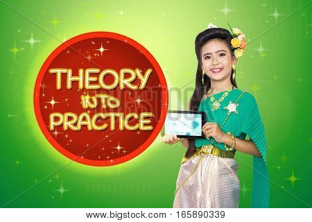 Traditional Thai Girl Child With Theory Into Practice Text.