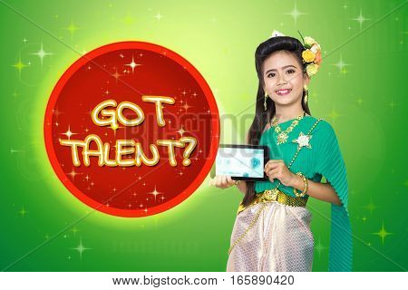 Traditional Thai Girl Child With Got Talent? Text.