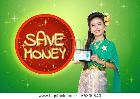 Traditional Thai Girl Child With Save Money Text.