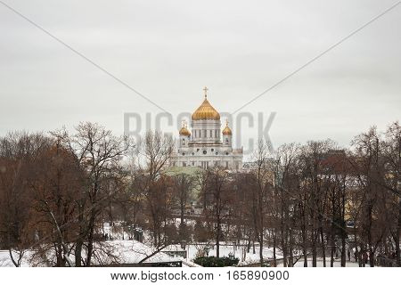 Cathedral of Christ the Savior in Moscow. View from the Moscow Kremlin.