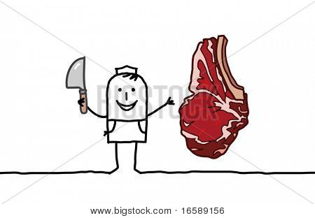 hand drawn cartoon characters - butcher & beef steak