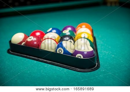 man playing billiard. Lucky combination in billiard