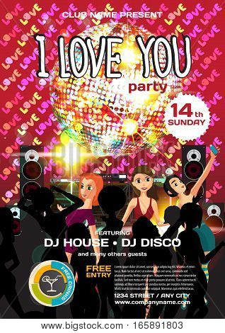 Vector valentine's day party invitation disco style. Night club, dj, women, template  posters or flyers.