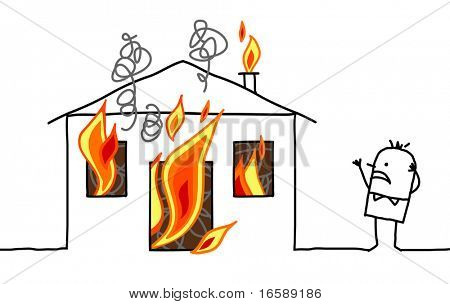 hand drawn cartoon character - man with house & fire