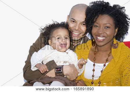 Portrait of multicultural parents and their children.