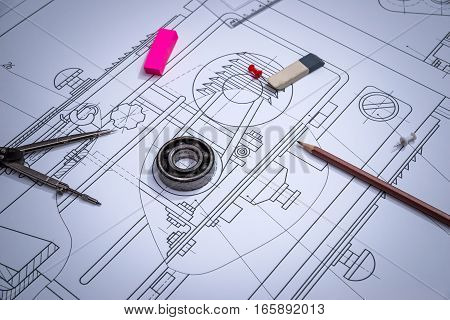 Engineering drawing of work tools. close up