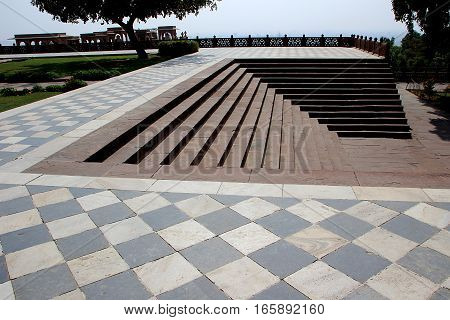 View of stone steps and tiled platform at Jaswanth Thada in Jodhpur Rajasthan India Asia