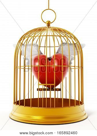 Gold bird cage with winged heart isolated on white background. 3D illustration.