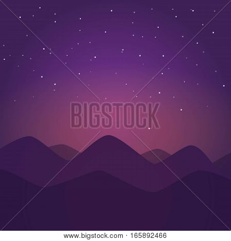 Night landscape with mountains. Vector illustration. Milkyway
