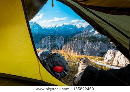 view from touristic tent to mountain valley, Dolomites, Italy