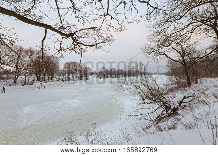Ice On The River In The Winter Evening