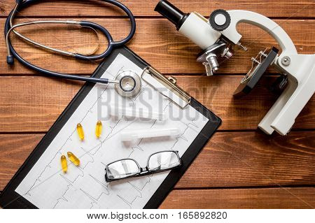 doctor workplace at wooden table with microscope in lab top view no one