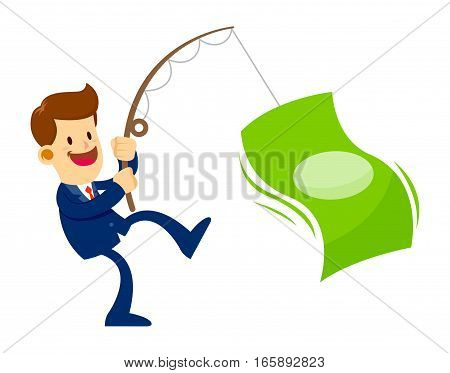 Vector stock of a businessman catching big money with a fishing pole success business concept