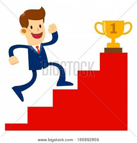 Vector stock of a businessman climbing stairs to get a golden trophy successful business concept