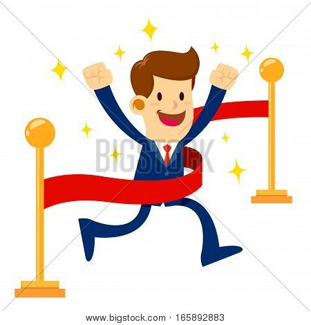 Vector stock of a businessman crossing finish line with through a red ribbon successful business concept