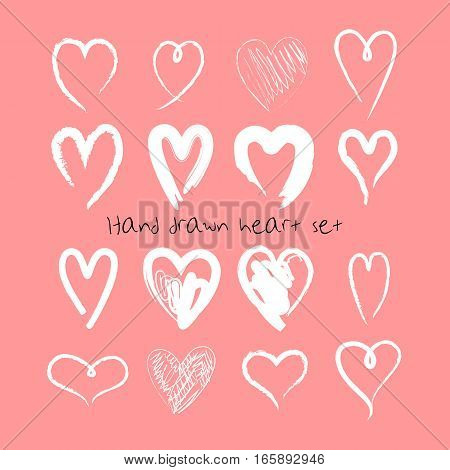 Hand drawn hearts set. Valentine's Day vector illustration. Template for greeting cards, logo element