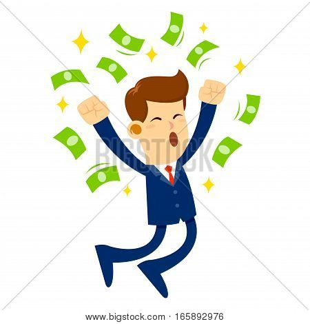 Vector stock of a businessman jumps in joy surrounded by money successful business concept