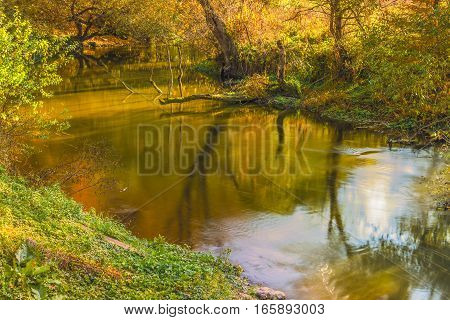 Fast river in autumn forest.  This picture was taken in a forest near Kiev.