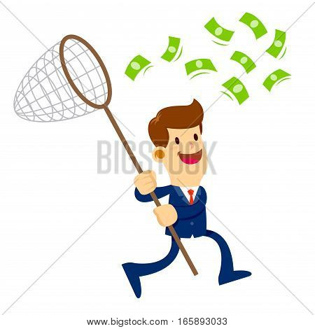 Vector stock of a businessman chasing flying money with a net