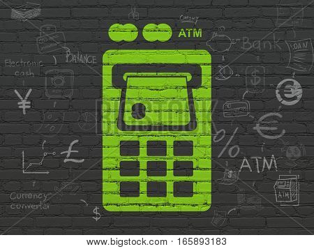 Banking concept: Painted green ATM Machine icon on Black Brick wall background with Scheme Of Hand Drawn Finance Icons
