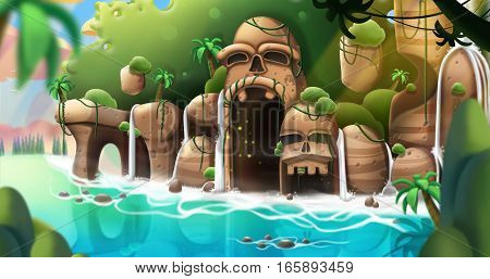 The Strange Island. Video Game's Digital CG Artwork, Concept Illustration, Realistic Cartoon Style Background