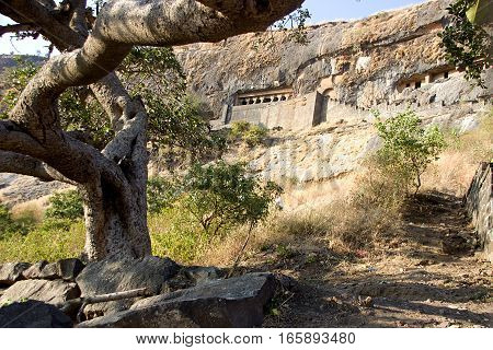 View of cave housing Girijatmak Vinayaka Temple at Lenhadri in Maharashtra India Asia