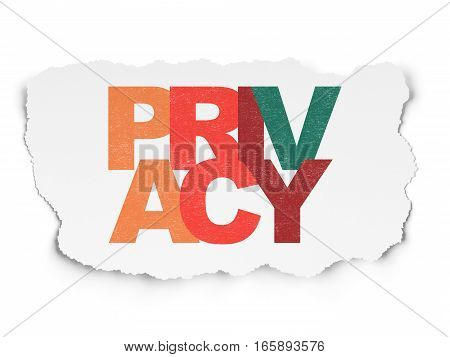 Privacy concept: Painted multicolor text Privacy on Torn Paper background