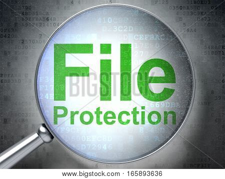 Privacy concept: magnifying optical glass with words File Protection on digital background, 3D rendering