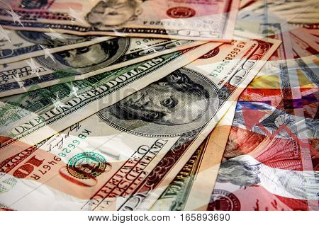 different dollar bills  as background, usa flag