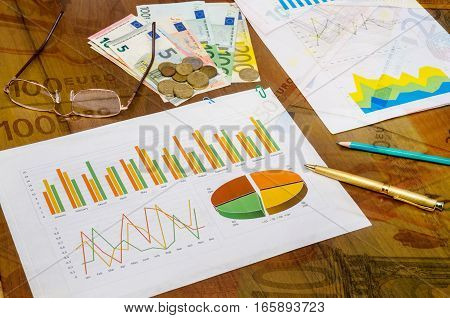 financial concept - graphics with calculator pen money on table