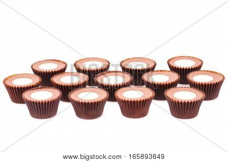 Heap of chocolate isolated on white background.